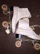 Ware Bros Chicago Roller Skates Wooden Wheels Womens Sz 8 White Hyde Leather Vtg
