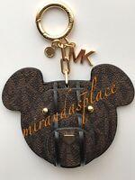 NWT MICHAEL KORS 3D Signature Brown Bear Charm Bag Fob KeyChain