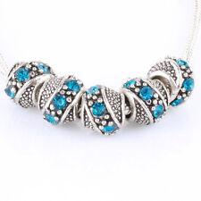 10pcs Blue Big Hole Tibetan silver CZ bead spacer fit European Charm Bracelet