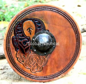 Wooden Viking Round Shield 24 Inches Hand Carved Floki Viking Wooden Shield