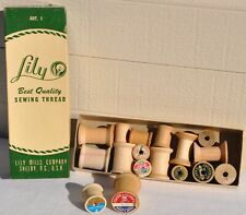 Lot Of 16 Vintage Wooden Sewing Thread Spools & Lily Mills Company Box Old VTG