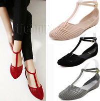 Women Summer Beach Flat T-strap beach Jelly sandals Closed toe Ankle Strap Shoes