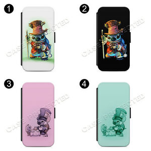Mad Hatter Lilo And Stitch Flip Wallet Phone Case Cover for All iPhone & Samsung