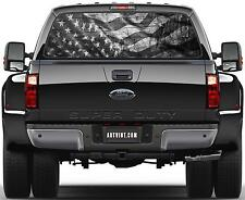 American Flag Black & White Prairie Gold Stone Rear Window Graphic Decal  Truck