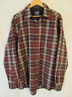 Pendleton Men's Plaid Long Sleeve Button Up Lodge Shirt Size XL Red & Black