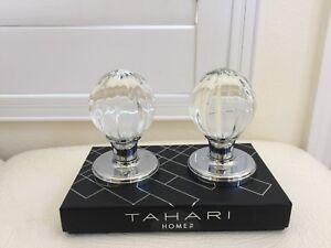 TAHARI HOME Set of 2 DOOR KNOBS Pull Mirror Crystal Glass Round Design New Box