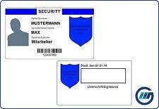 Dienstausweis Security Sicherheitsdienst - individuell beidseitig bedruckt