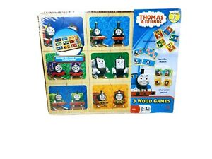 Thomas & Friends 3 Wood Match Games with  Storage Box