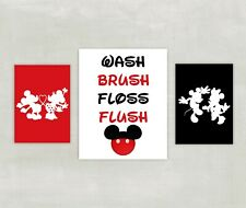 Minnie and Mickey Mouse Bathroom Prints - 3 prints Silhouette black and red