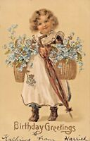 BIRTHDAY GREETINGS 1906 EMBOSSED GILT POSTCARD YOUNG GIRL-FLOWERS-UMBRELLA