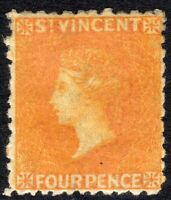St Vincent 1869 yellow 4d no watermark perf 11/12.5 mint SG12