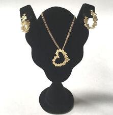 14k Yellow Gold Flower Heart Necklace & Hoop Earrings Set