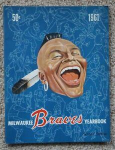 Milwaukee Braves 1961 Yearbook Magazine 2nd Edition Ex-NRMT Hank Aaron Spahn