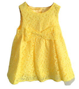 Baby Girls Toddler Party Dress, Yellow Lace Tutu Bow Princess Wedding Outfit