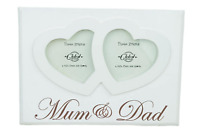 Mum and Dad Photo Frame Twin Heart Picture Cream Wooden Anniversary Gift  F1217G
