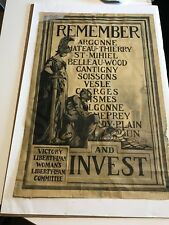 Remember & Invest Victory Liberty Loan War Poster 1917
