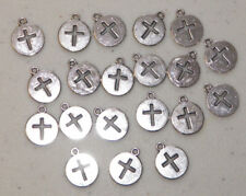 20 PIECES Round Cross Cut-out Charms, Christian Jewelry Craft & Beading Supplies