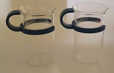BODUM TWO TALL BISTRO GLASSES / MUGS 12 cm HIGH 157 CLEAR GLASS BLACK HANDLE