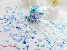 Nail Art Holographic *Blue Lagoon* Myler Flakes Cut Shatter Pot Spangle Glitters