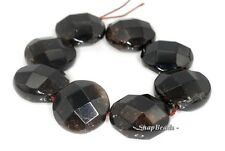 22MM  SMOKY QUARTZ GEMSTONE FACETED FLAT ROUND LOOSE BEADS 7""
