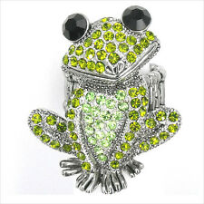 Smart Frog Froggy Animal Pet Cocktail Ring Costume Jewelry Crystal Green Silver