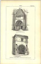 1850 Engraving Porch Norman Kelso Sherborne Dorset Parapet Window