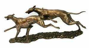 Greyhound Pair racing Bronze / Resin Sculpture NEW gift