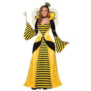 Adult Women's Yellow Royal Noble Queen Bumble Bee Halloween Costume Dress
