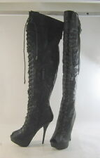 "Blacks 5.5""Stiletto high heel open toe front lace up sexy thigh high boot Size 6"