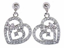 Swarovski Elements Crystal Heart In Heart Pierced Earrings Rhodium Plated 7103x