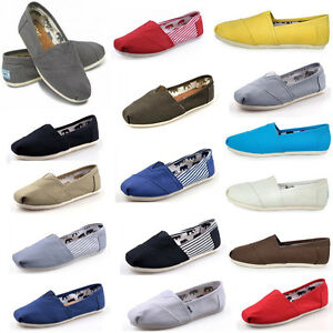TOM Women Men's Shoes Slip-on Casual Flats Solid Canvas Leisure Loafer Shoes