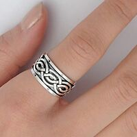 Unisex Infinity Celtic Crossover Spinner Genuine Sterling Silver Ring
