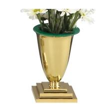 """Set of 2 Disciple Altar Vases Solid Brass 7-1/4""""H 4-1/4"""" SQ Base Includes Liners"""