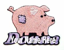 Primitive Patchwork Pig Custom Iron-on Patch With Name Personalized Free