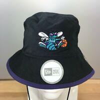 Charlotte Hornets NBA Basketball New Era Black Tipped Bucket Hat HWC NWT