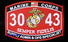 US MARINE MOS 3043 MARINE SUPPLY ADMIN & OPS SPECIALIST PATCH MARINES