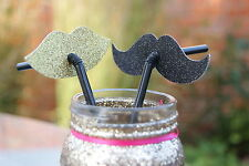 Glittery Gold and Black Lip and Moustache Straws - Hen Party Straws