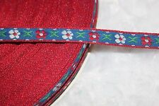 """5 yards navy red white blue green jacquard ribbon sewing Trim 3/8"""" wide"""