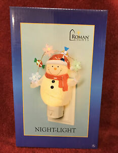 Roman Lights LED NIGHT LIGHT SNOWMAN HOLDING TWINKLING GARLAND SNOWFLAKES CANDY