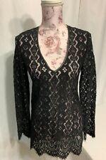 Elie Tahari Womens Black Long Sleeve Lace/w leather trim Tunic Top  XS NWT