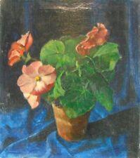 """M. Roggeveen """"Blühende Topfpflanze vor blauem Grund"""" 1941, Ölgemälde"""