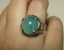 BEAUTIFUL, VICTORIAN STERLING SILVER ORNATE RING WITH AQUA CHALCEDONY GEM