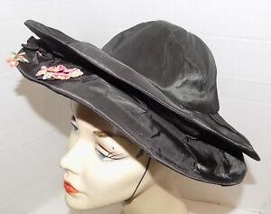 Vintage 40s Era Black Moire Hat Sprigs of Pink Flowers Inside Brim
