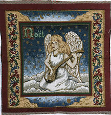 """Tapestry Panel Home Decor Christmas Noel Angel w Violin 13"""" x 13"""" Blue Gold New"""