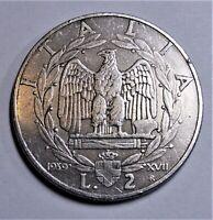 ITALIEN 2 Lire 1939 -Adler auf Liktorenbündel- fast StG/ near unc & Kapsel