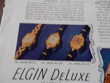 WW2 ELGIN WATCH  ADVERT --   FANTASTIC ESQUIRE PAGE  VGC 1941  bB