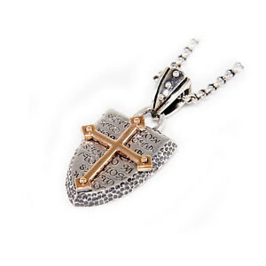 PINK GOLD CROSS PLATED SHIELD 925 STERLING SILVER KNIGHT TEMPLER PENDANT jo-041