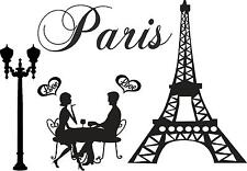 Love, couple, Eiffel Tower, Paris France vinyl wall decal