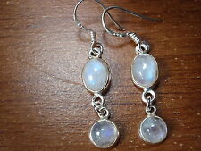 Double Gem Blue Moonstone Earrings 925 Sterling Silver Dangle Round Oval 770a