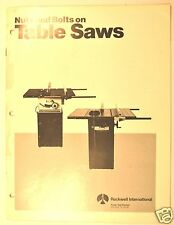 """ROCKWELL NUTS & BOLTS ON TABLE SAWS - 10"""" CONTRACTOR & 10"""" HOMECRAFT SAWS #RR113"""